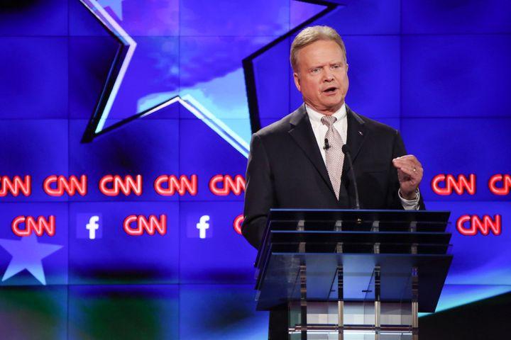 Jim Webb, former Senator from Virginia, participates in the first Democratic presidential debate at the Wynn Las Vegas resort