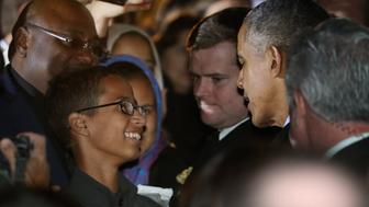WASHINGTON, DC - OCTOBER 19:  U.S. President Barack Obama (2nd R) talks with 14-year-old Ahmed Mohamed (L) during the second Astronomy Night on the South Lawn of the White House October 19, 2015 in Washington, DC. Invited to the White House for the science event, Mohamed was handcuffed and questioned by police last month when he brought a homemade electronic clock to class at MacArthur High School in Irving, TX, and officials mistook it for a bomb.  (Photo by Chip Somodevilla/Getty Images)