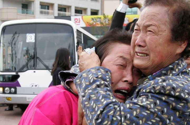 South Koreansreact emotionally after afamily reunion held in North Korea in 2009. Just 20 such meetings have take