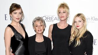 LOS ANGELES, CA - OCTOBER 19:  (L-R) Actors Dakota Johnson, Tippi Hedren, Melanie Griffith and Stella Banderas attend the 22nd Annual ELLE Women in Hollywood Awards at Four Seasons Hotel Los Angeles at Beverly Hills on October 19, 2015 in Los Angeles, California.  (Photo by Jason Merritt/Getty Images)
