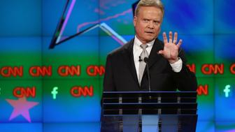 LAS VEGAS, NV - OCTOBER 13:  Democratic presidential candidate Jim Webb takes part in a presidential debate sponsored by CNN and Facebook at Wynn Las Vegas on October 13, 2015 in Las Vegas, Nevada. Five Democratic presidential candidates are participating in the party's first presidential debate.  (Photo by Joe Raedle/Getty Images)