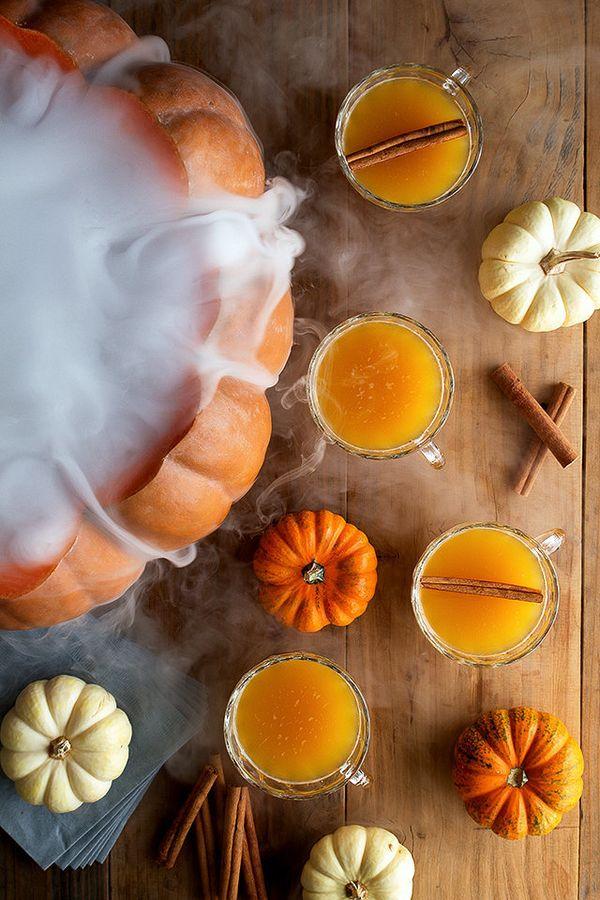 """<strong>Get the <a href=""""http://honestlyyum.com/6804/halloween-pumpkin-punch/"""" target=""""_blank"""">Halloween Pumpkin Punch recipe"""