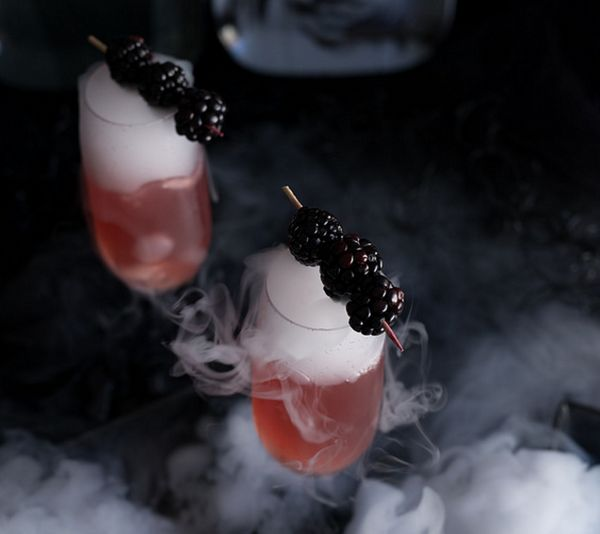 """<strong>Get the <a href=""""http://www.pineappleandcoconut.com/recipes/bride-frankenstein-cocktail-blackberry-champagne-cocktail"""