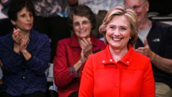 KEENE STATE COLLEGE, KEENE, NEW HAMPSHIRE, UNITED STATES - 2015/10/16: Democratic presidential nominee Hillary Clinton smiles while being introduced at a town hall meeting campaign event at Keene State College. (Photo by Luke William Pasley/Pacific Press/LightRocket via Getty Images)