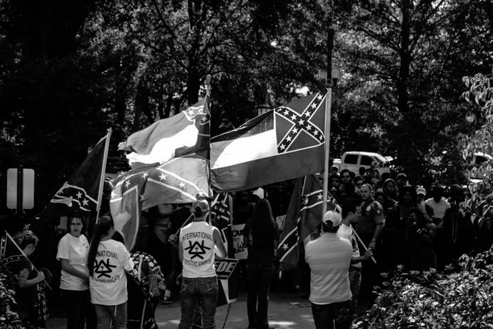 Members of pro-segregationist and white supremacist groups protestedat Ole Miss after students held arally to tak