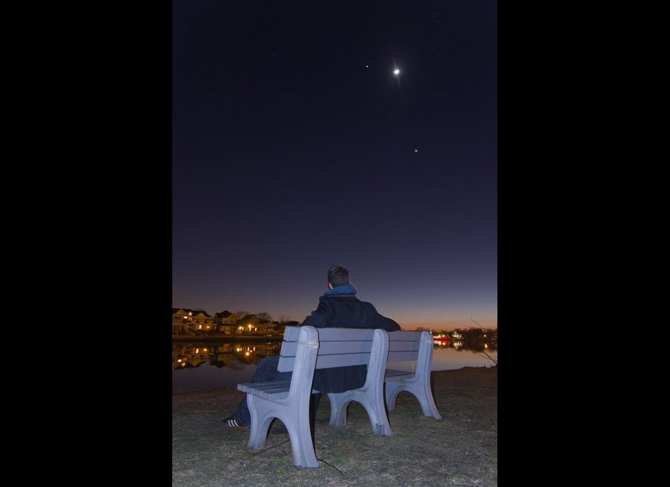 Skywatcher Jack Fusco enjoyed viewing Jupiter, the moon and Venus while sitting on a bench in Bradley Beach, NJ, near Sylvan