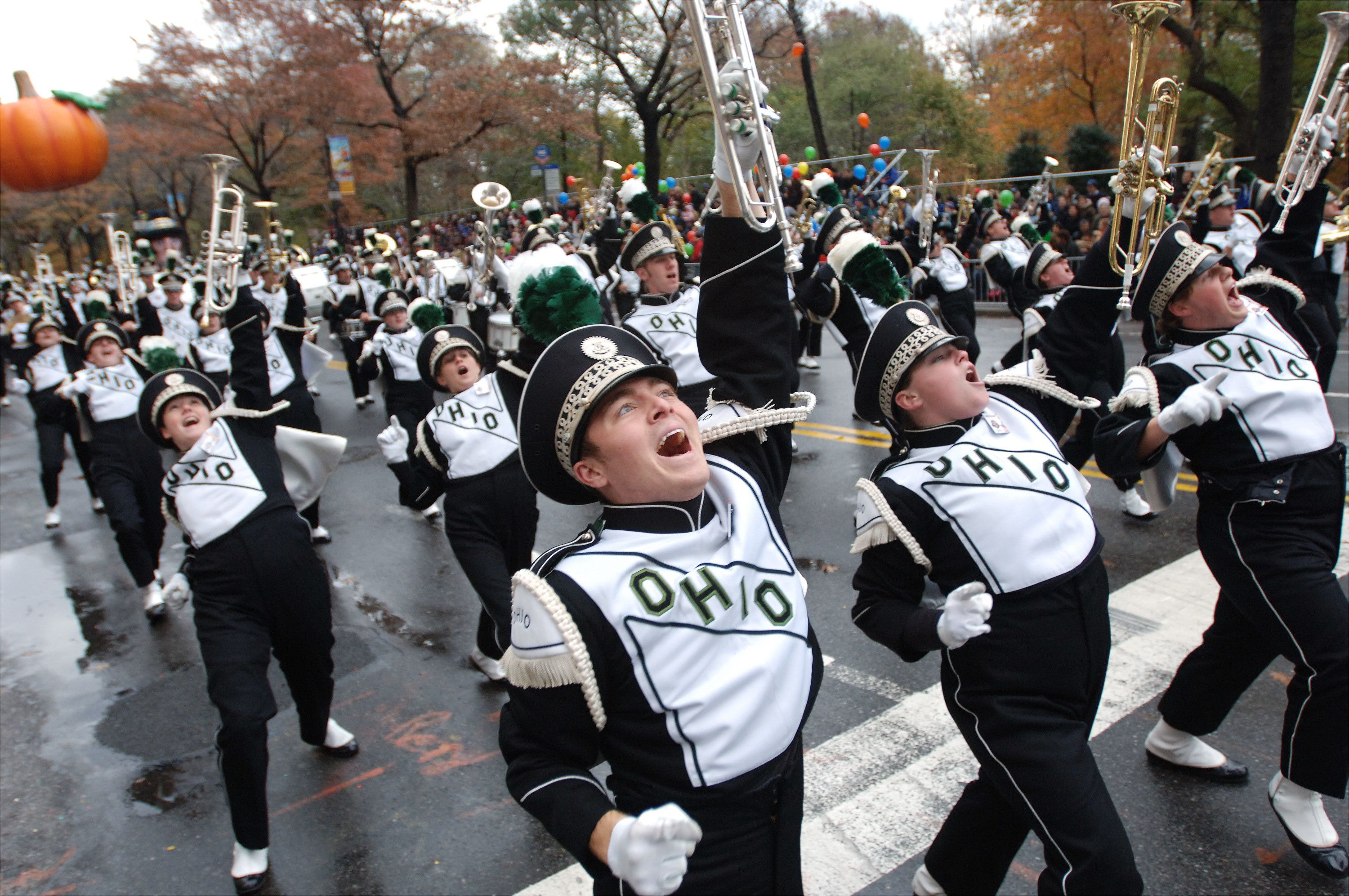 UNITED STATES - NOVEMBER 24:  Ohio University marching band gets into the spirit on Central Park West during the 79th annual Macy's Thanksgiving Day Parade.  (Photo by Susan Watts/NY Daily News Archive via Getty Images)