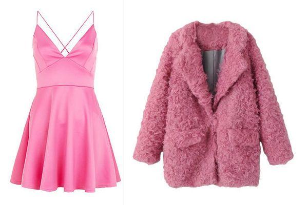 """Dress, <a href=""""http://www.newlook.com/shop/womens/dresses/ax-paris-pink-plunge-neck-skater-dress-_355296070"""">New Look</a>; J"""