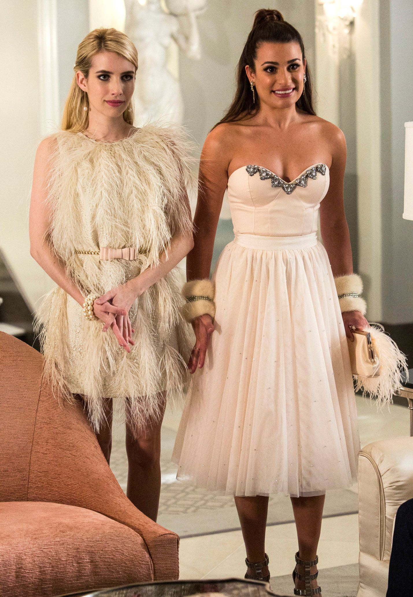 "SCREAM QUEENS: Pictured L-R: Emma Roberts as Chanel Oberlin and Lea Michele as Hester in the ""Chainsaw"" episode of SCREAM QUEENS airing Tuesday, Sept. 29 (9:00-10:00 PM ET/PT) on FOX. �2015 Fox Broadcasting Co. Cr: Skip Bolen/FOX."