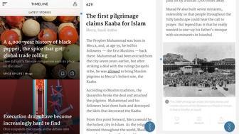 Screenshots of the Timeline app