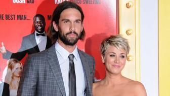 HOLLYWOOD, CA - JANUARY 06:  (L-R) Tennis Player Ryan Sweeting and actress Kaley Cuoco-Sweeting attend the premiere of 'The Wedding Ringer' at TCL Chinese Theatre on January 6, 2015 in Hollywood, California.  (Photo by Barry King/FilmMagic)