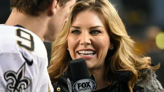 PITTSBURGH, PA - NOVEMBER 30:  Fox Sports NFL sideline reporter Charissa Thompson interviews quarterback Drew Brees #9 of the New Orleans Saints after a game against the Pittsburgh Steelers at Heinz Field on November 30, 2014 in Pittsburgh, Pennsylvania.  The Saints defeated the Steelers 35-32. (Photo by George Gojkovich/Getty Images)