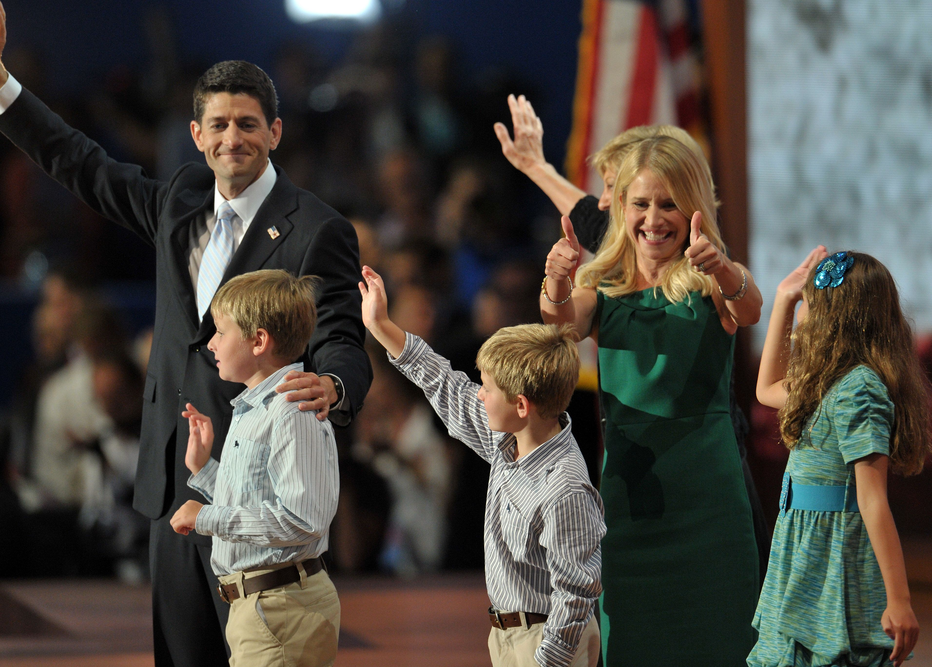Rep. Paul Ryan's (R-Wis.) family joined him on stage at the Republican National Convention in 2012, when he was Mitt Romney's