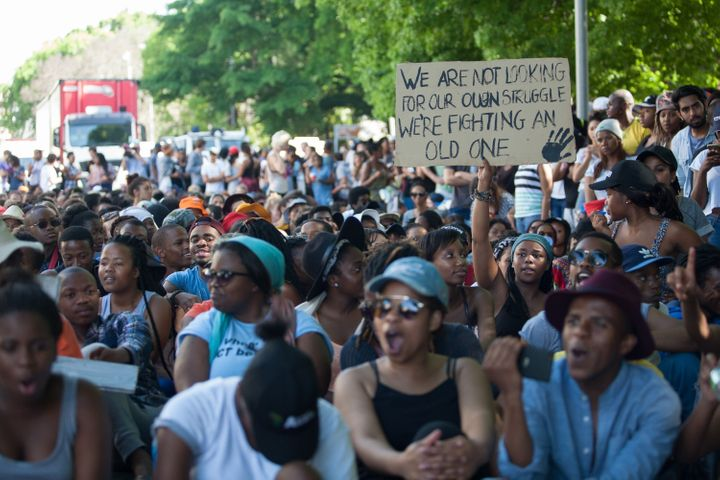 Students were protesting a plan by South African universities to increase tuition fees by up to 11.5 percent, whichwas