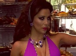 Eva Longoria Wears A Plunging Swimsuit On Set Of New Show