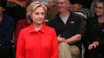 KEENE STATE COLLEGE, KEENE, NEW HAMPSHIRE, UNITED STATES - 2015/10/16: Democratic presidential nominee Hillary Clinton is introduced at a town hall meeting campaign event at Keene State College. (Photo by Luke William Pasley/Pacific Press/LightRocket via Getty Images)