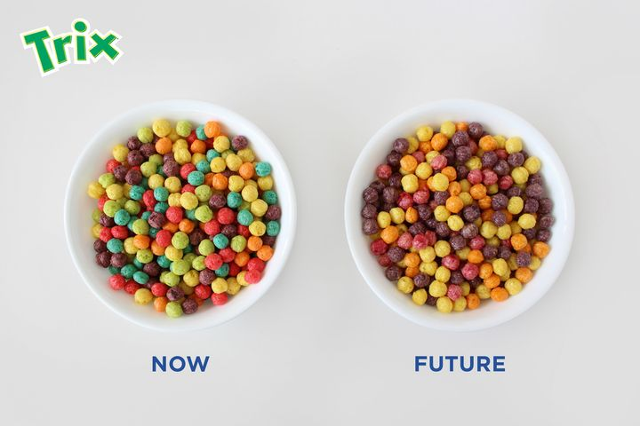 A look at Trix's new color scheme, made without the use of artificial flavors or dyes. It will be on the market in January, 2016.