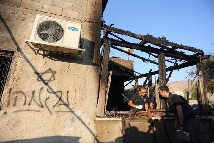 Israeli crime scene investigation after theDuma arson attack that killed a Palestinian baby and his parents.&nbsp