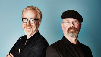 PASADENA, CA - JANUARY 08:  (EDITORS NOTE: This image was processed using digital filters) TV personalities Adam Savage (L) and Jamie Hyneman from 'MythBusters' pose for a portrait during the 2015 Winter TCA Tour at the Langham Hotel on January 8, 2015 in Pasadena, California.  (Photo by Maarten de Boer/Getty Images)