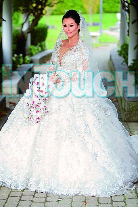 Jwoww 39 s dramatic wedding dress revealed huffpost for Ariana grande wedding dress