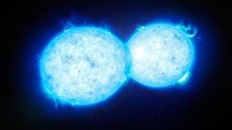 This artist's impression shows VFTS 352 — the hottest and most massive double star system to date where the two components are in contact and sharing material. The two stars in this extreme system lie about 160 000 light-years from Earth.