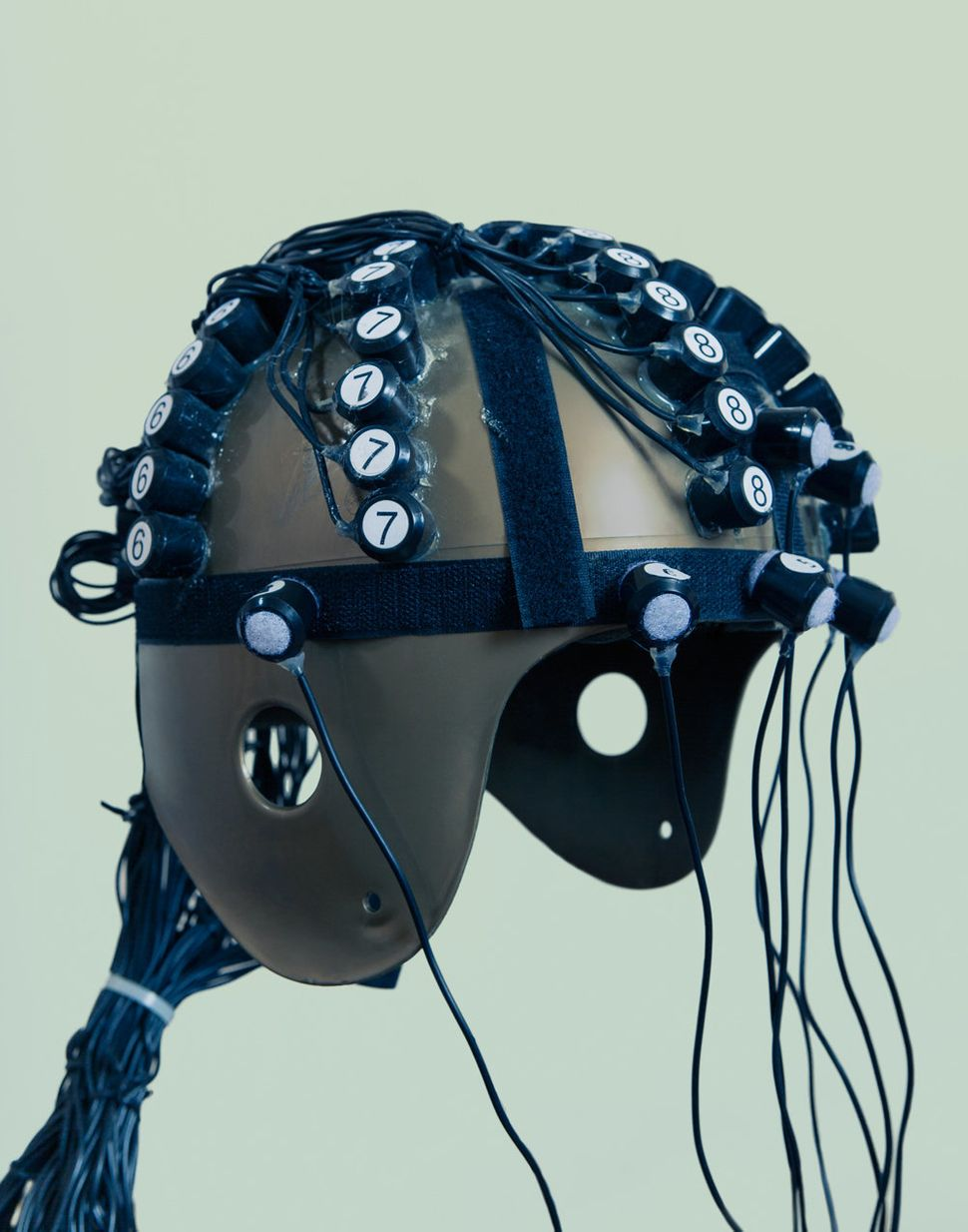 "The ""God helmet"" used for testing magnetic fields on the brain."