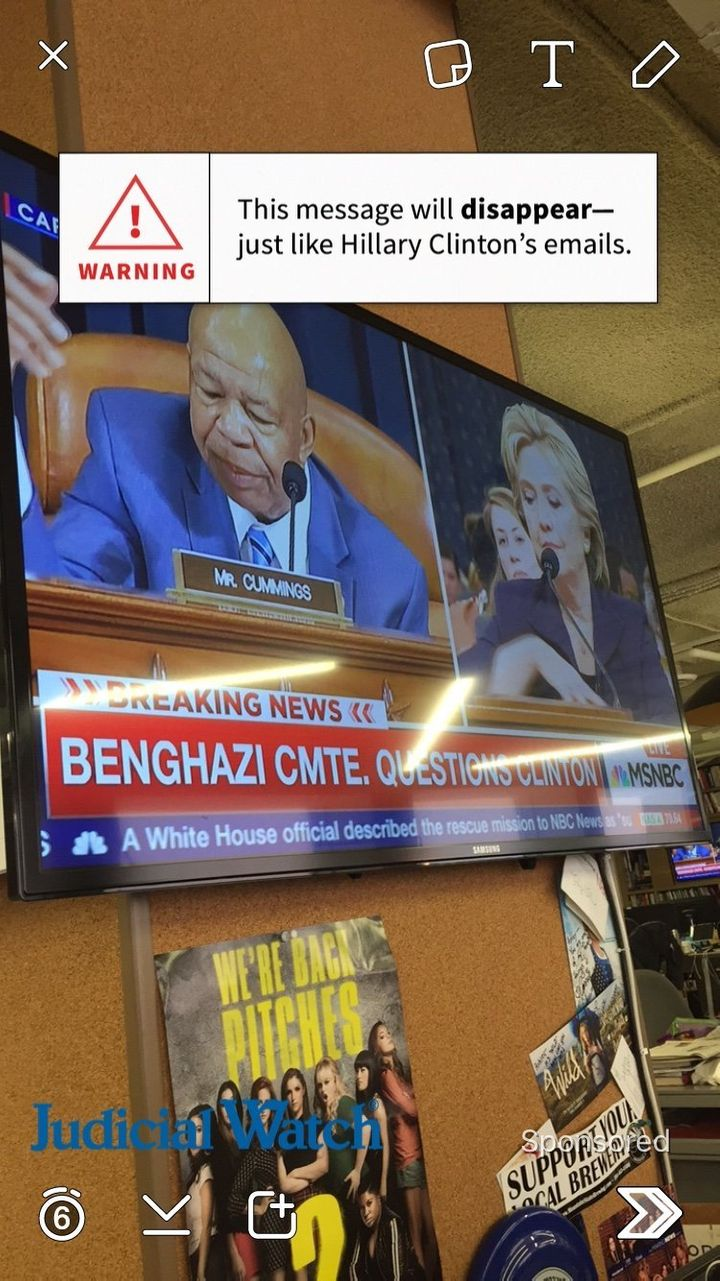 A geofilter sponsored by Judicial Watch needled Hillary Clinton for her use of a personal email while she was secretary of st