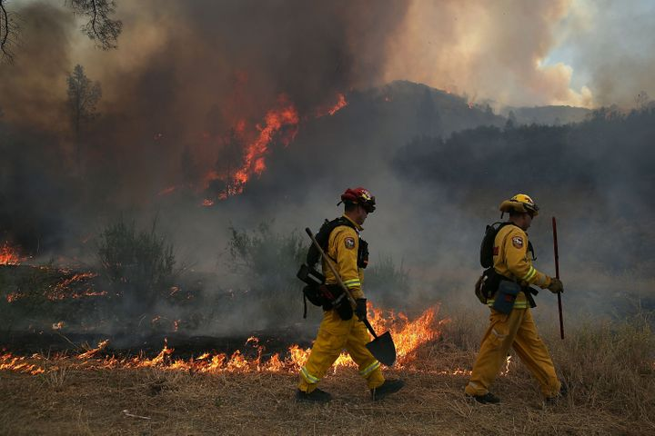 Firefighters battled the Rocky Fire in California's Lake County.