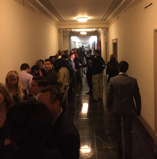 The line at 8:30 a.m. to attend the Benghazi hearing featuring Hillary Clinton.