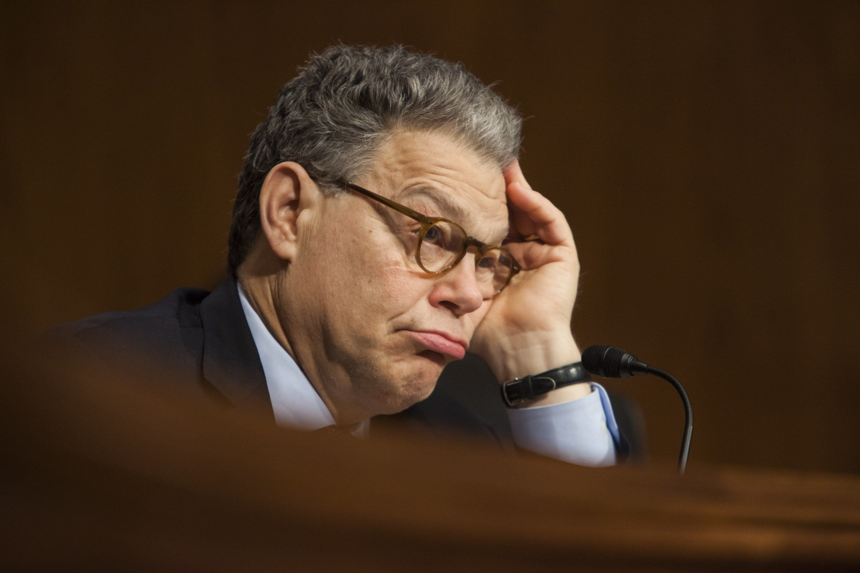 WASHINGTON, USA - JUNE 10: Senator Al Franken listens to testimony from witnesses during a Health, Education, Labor, and Pensions Committee hearing on how to better develop information and records exchange in the healthcare industry in Washington, USA on June 9, 2015. (Photo by Samuel Corum/Anadolu Agency/Getty Images)
