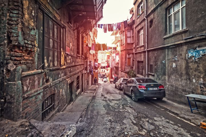 View of back street in Taksim, Istanbul.