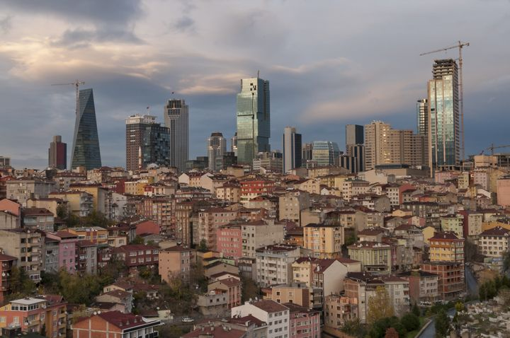 The growing financial district of Levent in Istanbul at sunset.