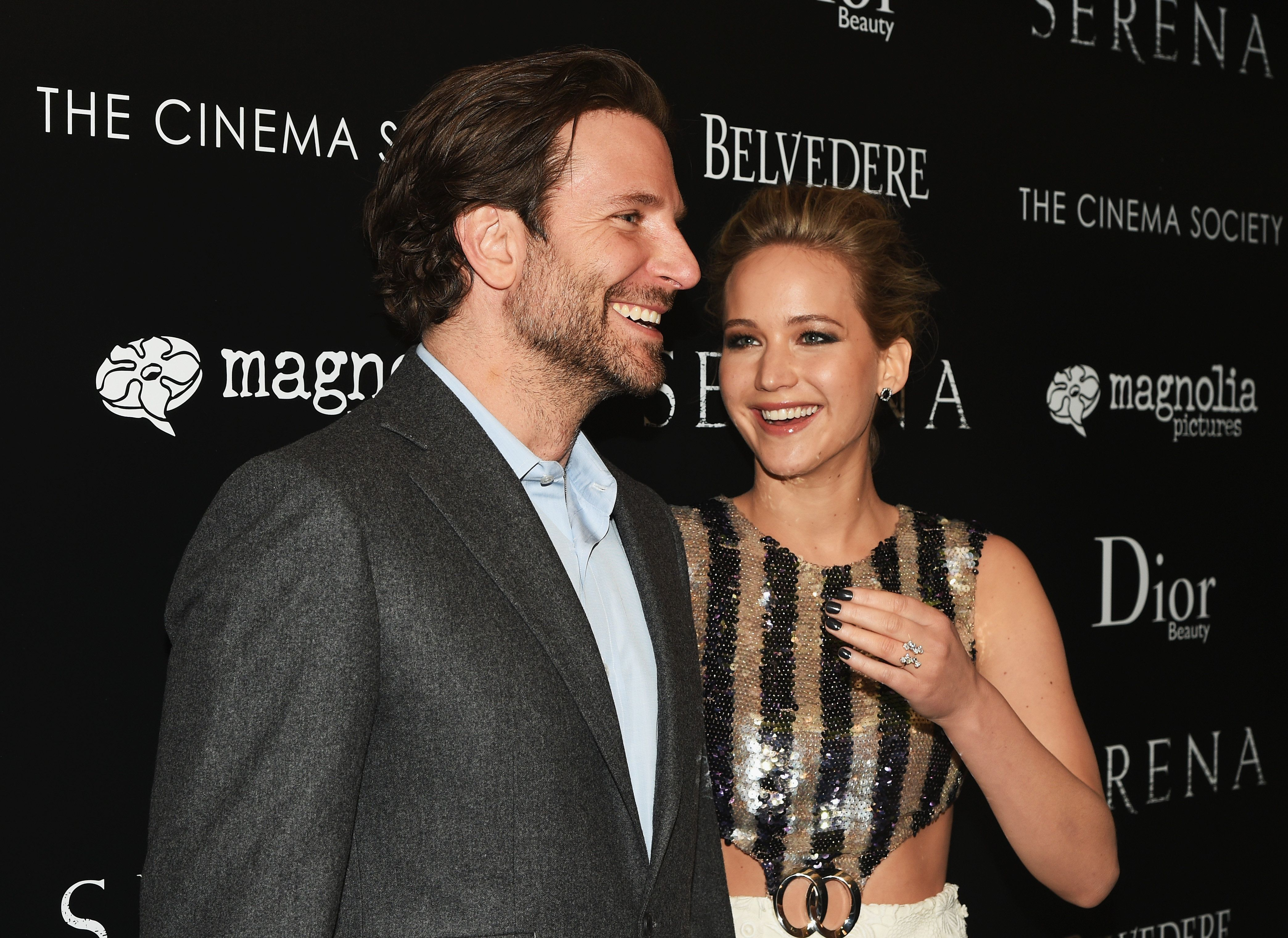 NEW YORK, NY - MARCH 21:  Actors Bradley Cooper and Jennifer Lawrence attend a screening of 'Serena' hosted by Magnolia Pictures and The Cinema Society with Dior Beauty on March 21, 2015 in New York City.  (Photo by Andrew H. Walker/FilmMagic)