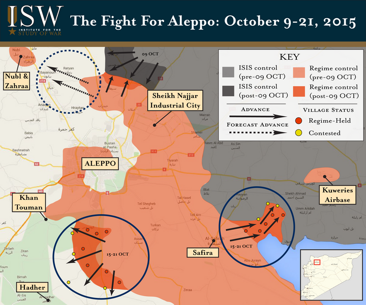 A map from the Institute for the Study of War shows the various factions that occupy Aleppo and its surrounding area.