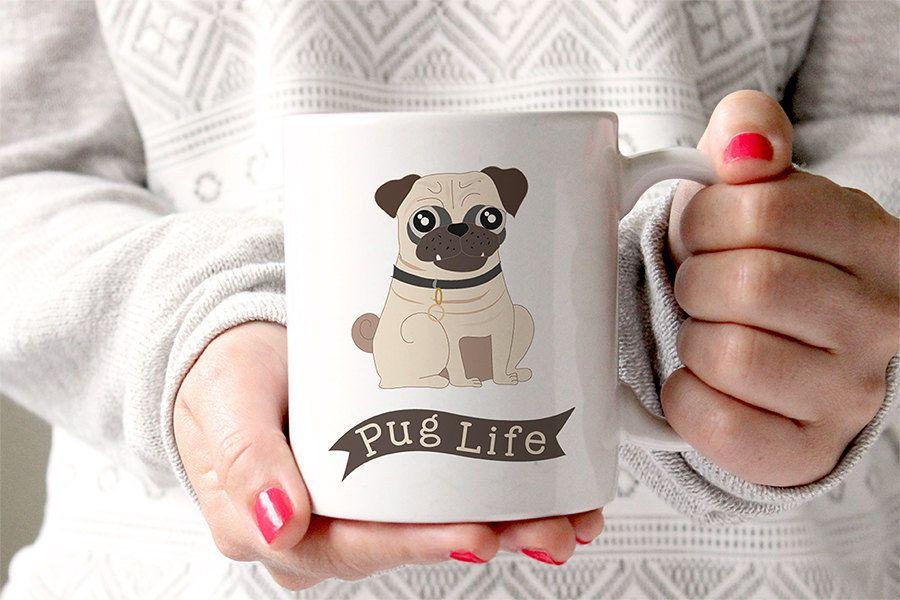 """<a href=""""https://www.etsy.com/listing/235856865/pug-life-dog-coffee-mug-funny-mug-dog"""">FoxyMug/Etsy, $15+</a>"""