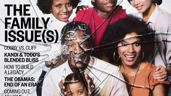"""Ebony's November cover depicts a shattered image of the Huxtables, the fictional family that was the focus of""""The Cosby Show."""""""
