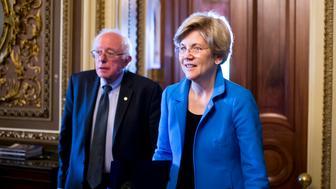 WASHINGTON, DC - MAY 12: Sen. Bernie Sanders, I-Vt., and Sen. Elizabeth Warren, D-Mass., leave the Senate Democrats' policy luncheon on Tuesday, May 12, 2015. (Photo By Bill Clark/CQ Roll Call)