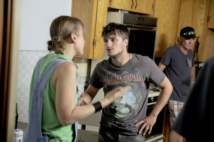 "Josh Hutcherson on set of ""The Rusted."""