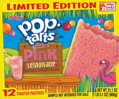 Pink, lemon-flavored filling in a golden crust, topped with pink frosting and pink and yellow crunchlets. <i>Available mid-Ap