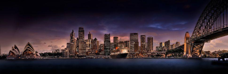"""Sydney Harbour with QE2"""