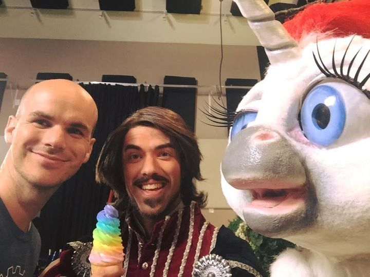 "<i>Jeffrey Harmon, left, with ""Squatty Potty"" actor Wes Tolman and the unicorn.</i>"