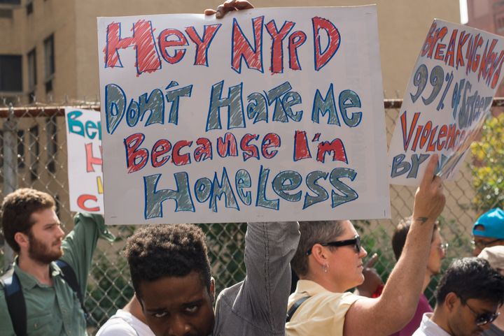 Protesters rally in Harlem against New York City's policies regarding the homeless on Sept. 9, 2015.