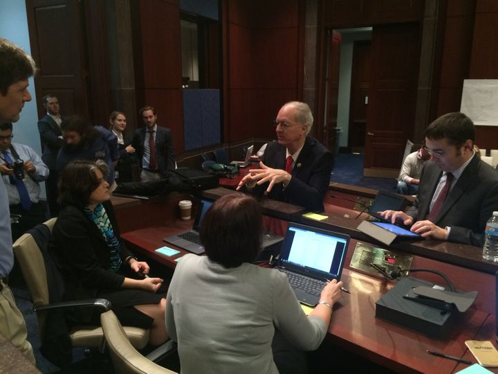 Rep. Bill Foster (D-Ill.) talks with attendees of the Second Congressional Hackathon on Friday. The event was meant