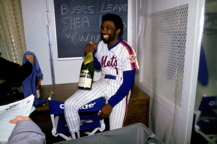 Mookie Wilson celebrating after the Mets beat the Red Sox in the 1986 World Series
