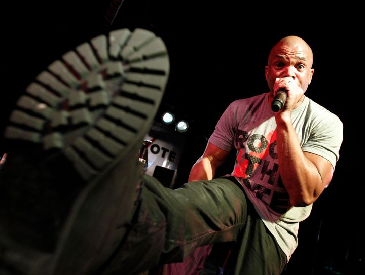 "Darryl ""DMC"" McDaniels of Run DMC performs at Rock the Vote's 25th anniversary concert. He said, ""There's a power that exists"