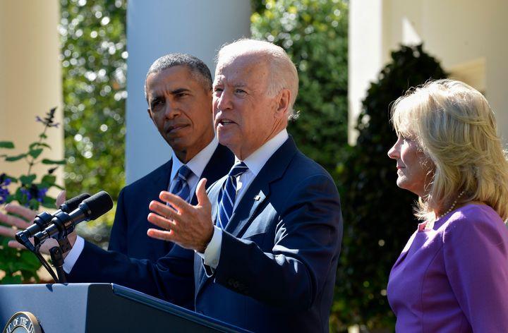 Vice President Joe Biden, center, speaks in the Rose Garden of the White House with his wife, Jill Biden, and President Barac