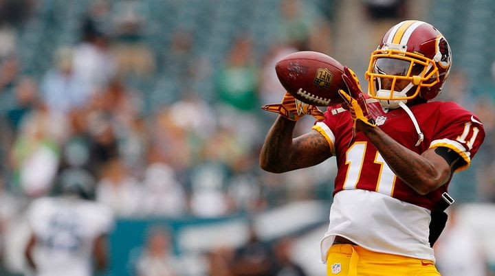 DeSean Jackson catches a pass during warm-ups before playing against the Philadelphia Eagles at Lincoln Financial Field on Se