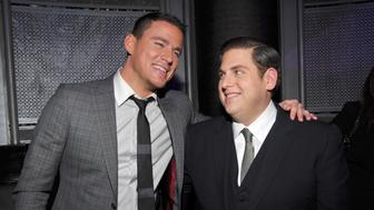 HOLLYWOOD, CA - MARCH 13:  Actors Channing Tatum (L) and Jonah Hill attend the after party for the Los Angeles premiere of '21 Jump Street' at Rolling Stone Restaurant & Lounge on March 13, 2012 in Hollywood, California.  (Photo by Lester Cohen/WireImage)