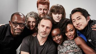SAN DIEGO, CA - JULY 11:  (L-R) Actors Lennie James, Melissa McBride, Andrew Lincoln, Michael Cudlitz, Chandler Riggs, Danai Gurira, Sonequa Martin-Green, and Steven Yeun of 'The Walking Dead' pose for a portrait at the Getty Images Portrait Studio Powered By Samsung Galaxy At Comic-Con International 2015 at Hard Rock Hotel San Diego on July 11, 2015 in San Diego, California.  (Photo by Maarten de Boer/Getty Images)