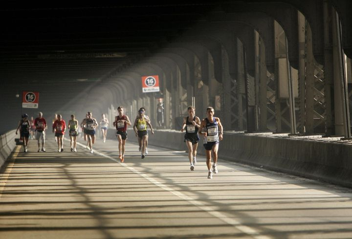 Runners on the Queensboro Bridge.